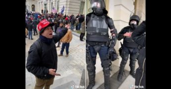 A Trump supporter yells at riot police during the Capitol incursion.