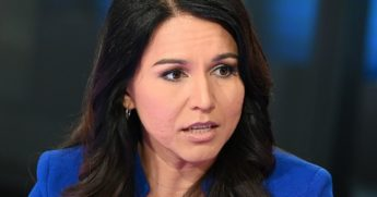 "Then-Democratic Rep. Tulsi Gabbard of Hawaii visits ""Fox & Friends"" at Fox News Channel Studios in New York City on Sept. 24, 2019."