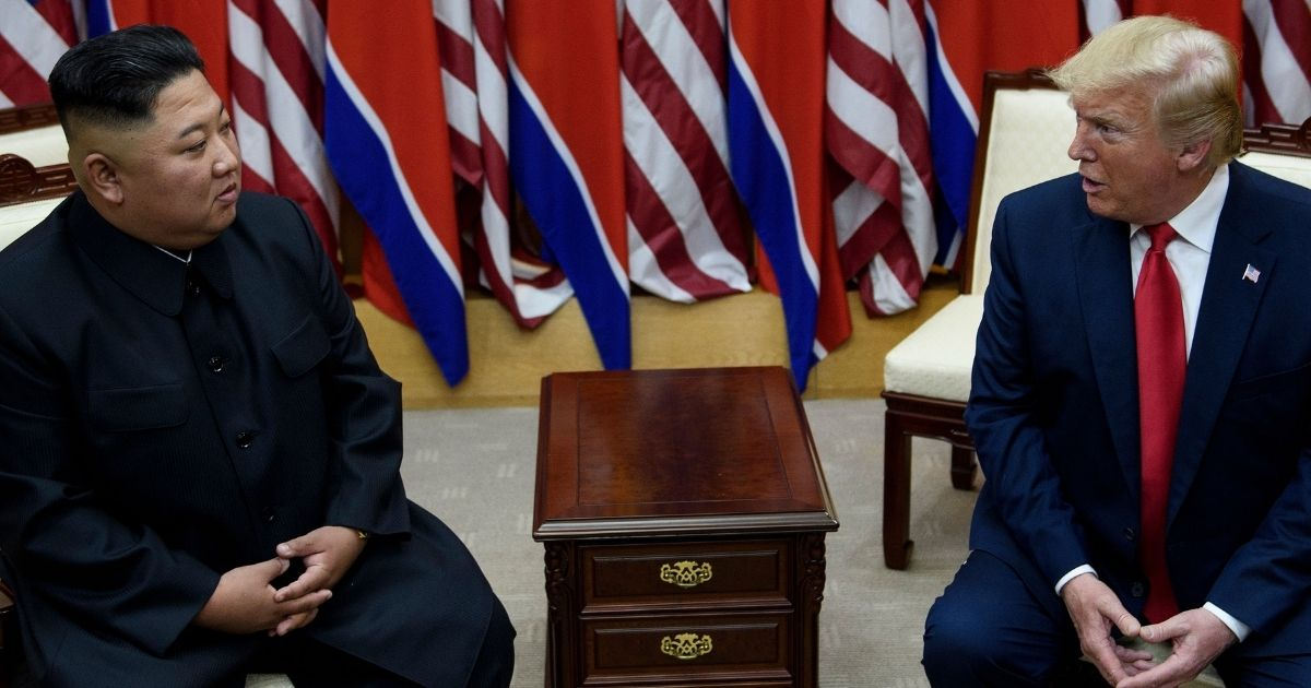 North Korean leader Kim Jong Un and US President Donald Trump meet on June 30, 2019, on the south side of the Military Demarcation Line that divides North and South Korea.