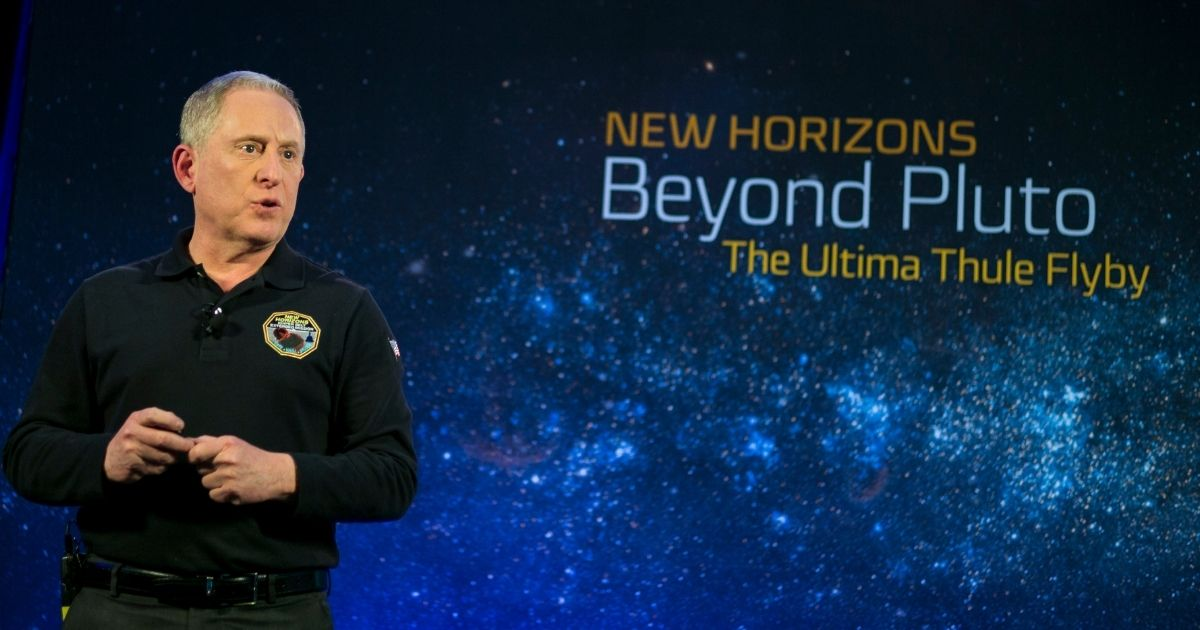 In this handout from NASA, New Horizons principal investigator Alan Stern speaks during an overview of the mission on Dec. 31, 2018, in Laurel, Maryland. The mission yielded the first close-up pictures of Pluto.