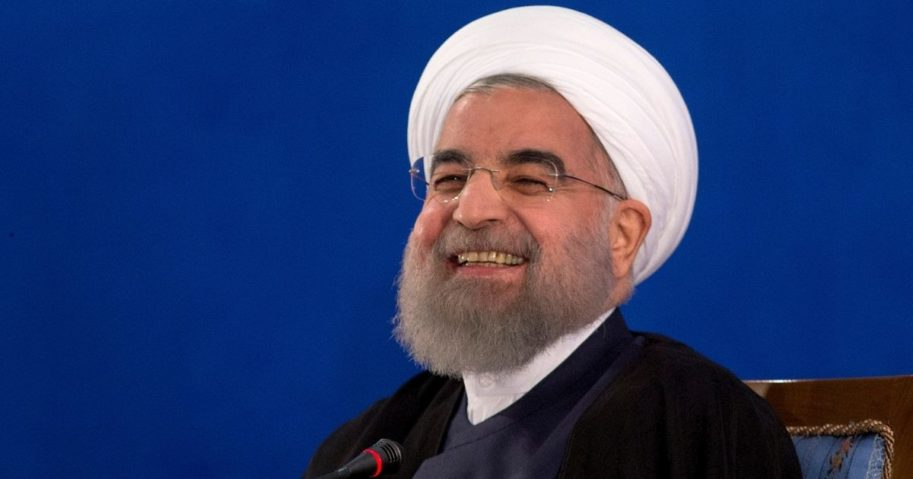 Iranian President Hassan Rouhani laughing in a 2017 file photo.