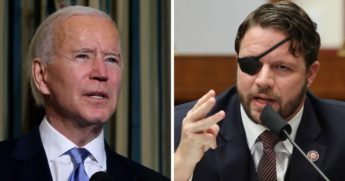 President Joe BIden, left; and Rep. Dan Crenshaw, right.