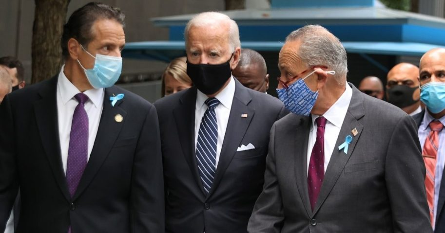 From left, New York Gov. Andrew Cuomo, then-Democratic presidential nominee Joe Biden and U.S. Sen. Chuck Schumer, D-N.Y., arrive for a remembrance ceremony this past fall on the 19th anniversary of the September 11, 2001, terrorist attacks in New York City.