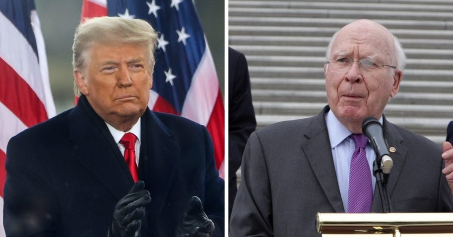 """President Donald Trump at the Jan. 6 """"Stop the Steal"""" rally in Washington, left; and Sen. Patrick Leahy at an October news conference, right."""