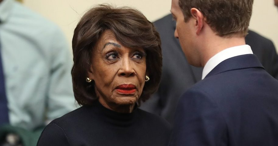 U.S. Rep. Maxine Waters is pictured in a file photo from October 2019 talking to Facebook CEO Mark Zucker after a hearing on political content on the social media giant.