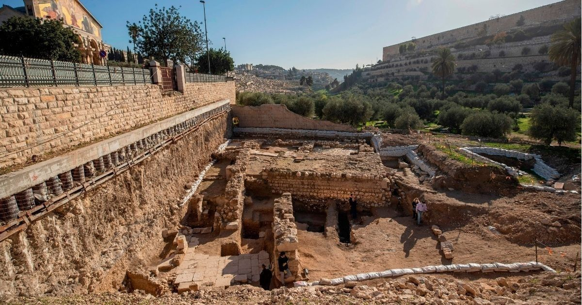 This view shows a 2,000-year-old ritual bath and the remains of a recently discovered church, believed to have been founded at the end of the Byzantine period, near the Garden of Gethsemane in Jerusalem on Dec. 21, 2020.