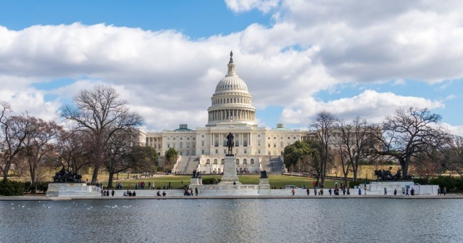 This stock photo provides a view of the U.S. Capitol building in Washington, D.C. Some Democrats in the Senate are currently pushing to make the District of Columbia America's 51st state.