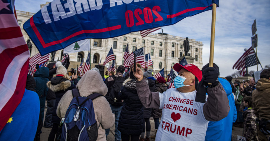 Protesters attended a rally in support of President Donald Trump on the steps of the Minnesota State Capitol on Jan. 6, 2021, in St. Paul, Minnesota.