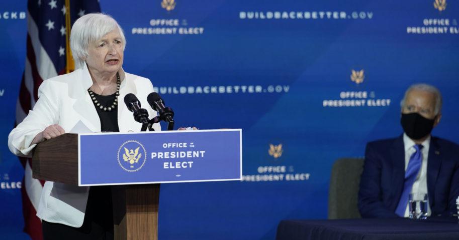 Janet Yellen speaks on Dec. 1, 2020, in Wilmington, Delaware. (