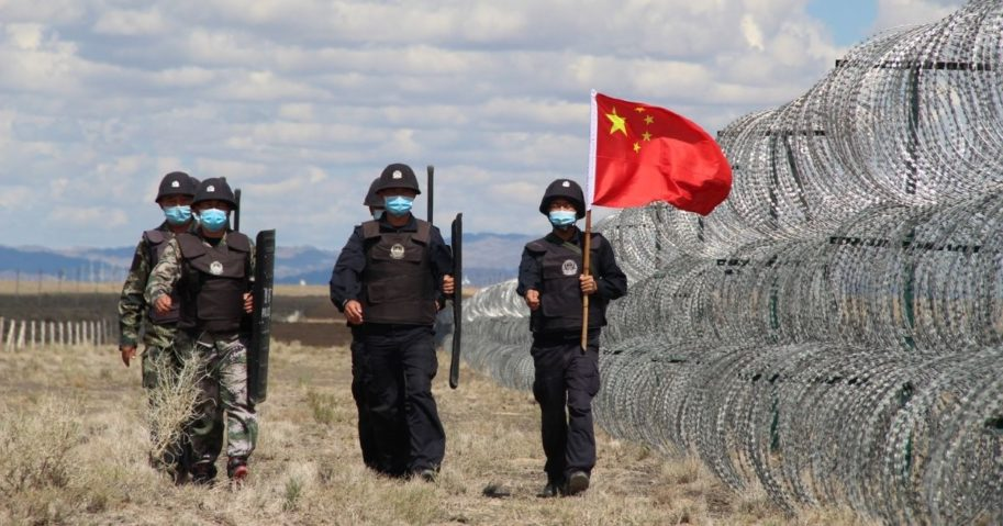 Immigration control police patrol no-man's land on Aug. 23, 2020, in Altay, Xinjiang, China.