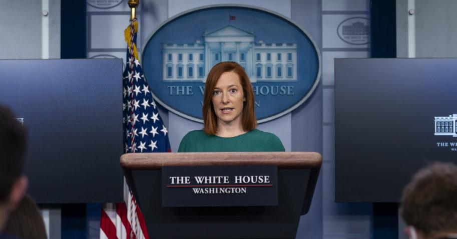 White House press secretary Jen Psaki speaks during a media briefing at the White House on Monday.