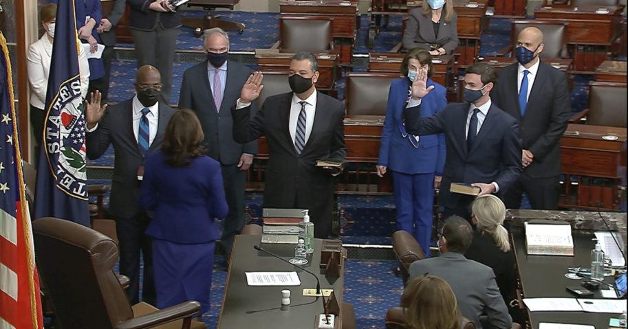 Vice President Kamala Harris swears in Sen. Raphael Warnock, Sen. Alex Padilla and Sen. Jon Ossoff on the floor of the Senate on Jan. 6, 2021, on Capitol Hill in Washington, D.C.