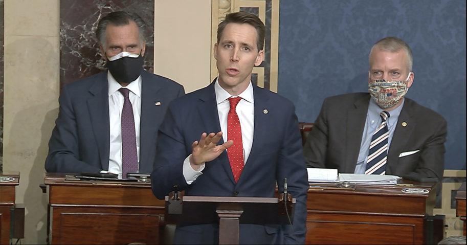 Sen. Josh Hawley of Missouri speaks at the US Capitol in Washington, D.C., on Jan. 6, 2021.