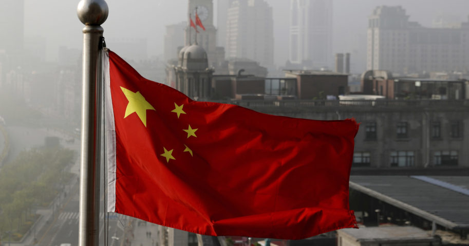 A Chinese flag flies in Shanghai, China, on April 14, 2016.