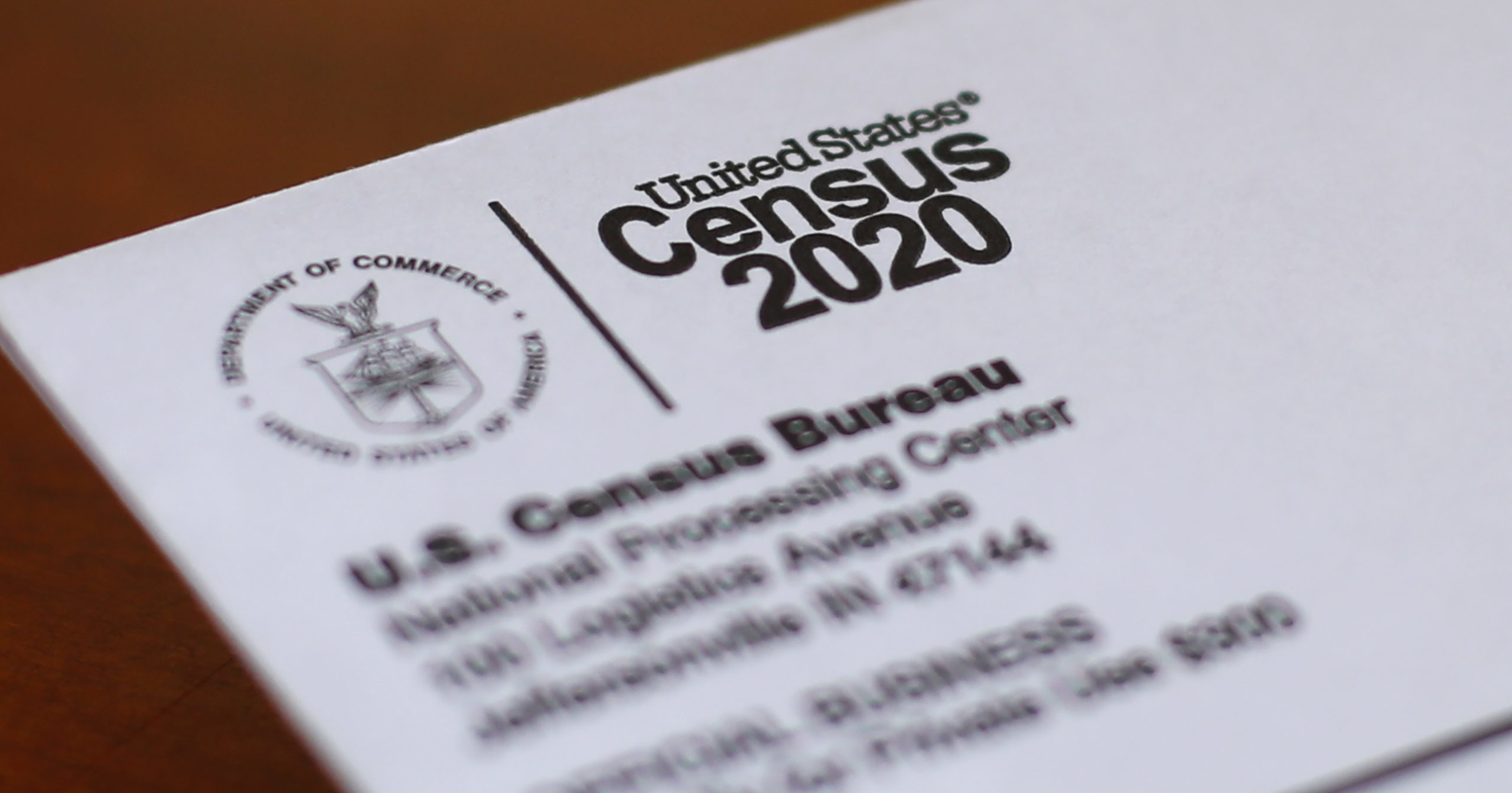 A 2020 census letter mailed to a US resident in Detroit is seen on April 5, 2020.