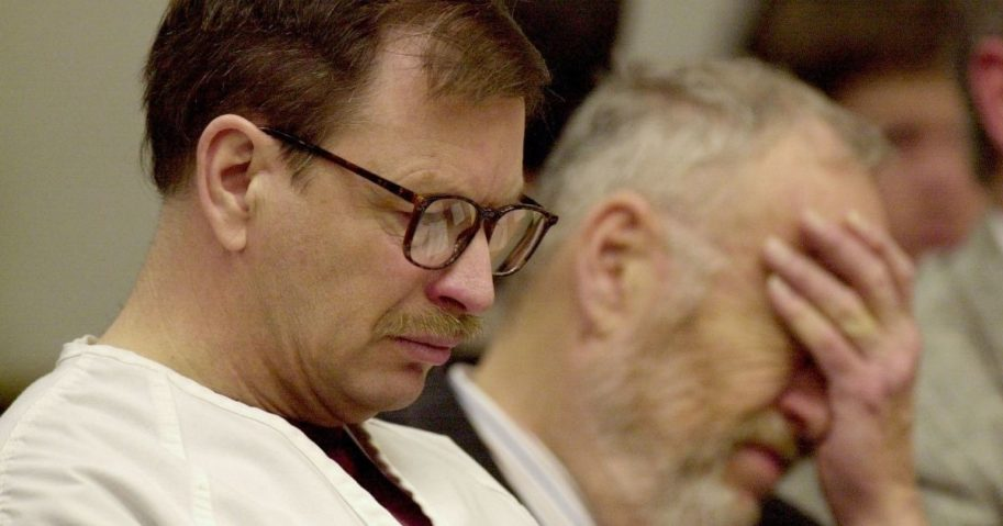 Gary Ridgway sits in court during his trial on Dec. 18, 2003, in Seattle, Washington.