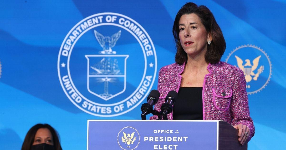 Rhode Island Gov. Gina Raimondo delivers remarks on Jan. 8, 2021, in Wilmington, Delaware.