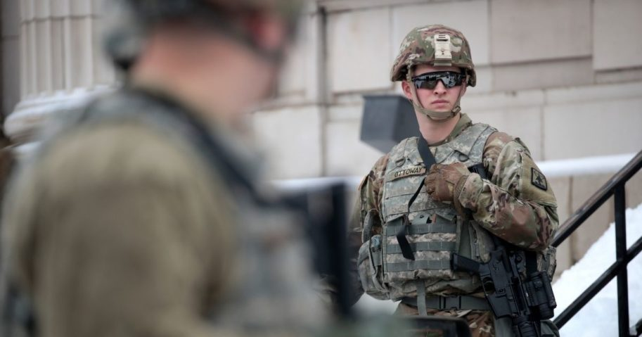 National Guard troops stand guard near the Kenosha County Courthouse on Jan. 5, 2021, in Kenosha, Wisconsin.