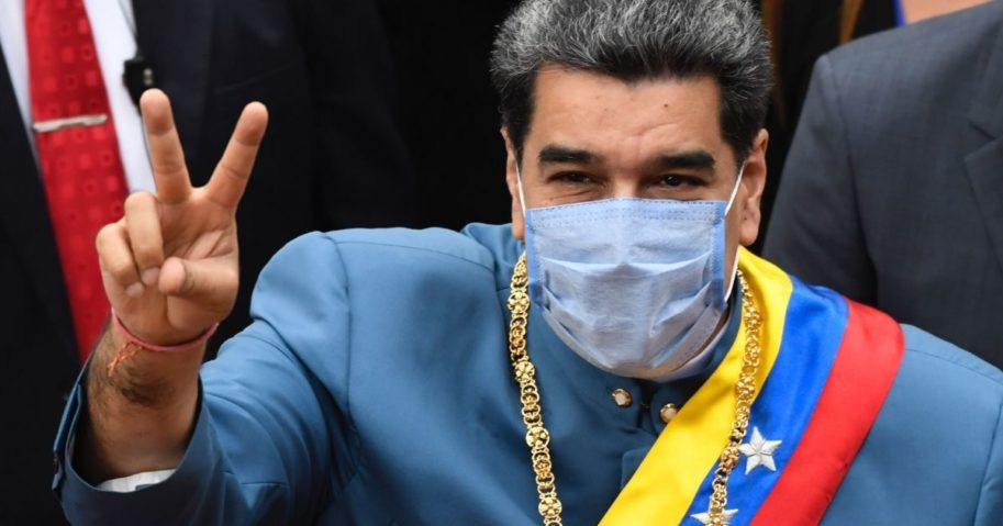 Nicolas Maduro arrives to present an annual report before the National Assembly in Caracas, Venezuela, on Jan. 12, 2021.