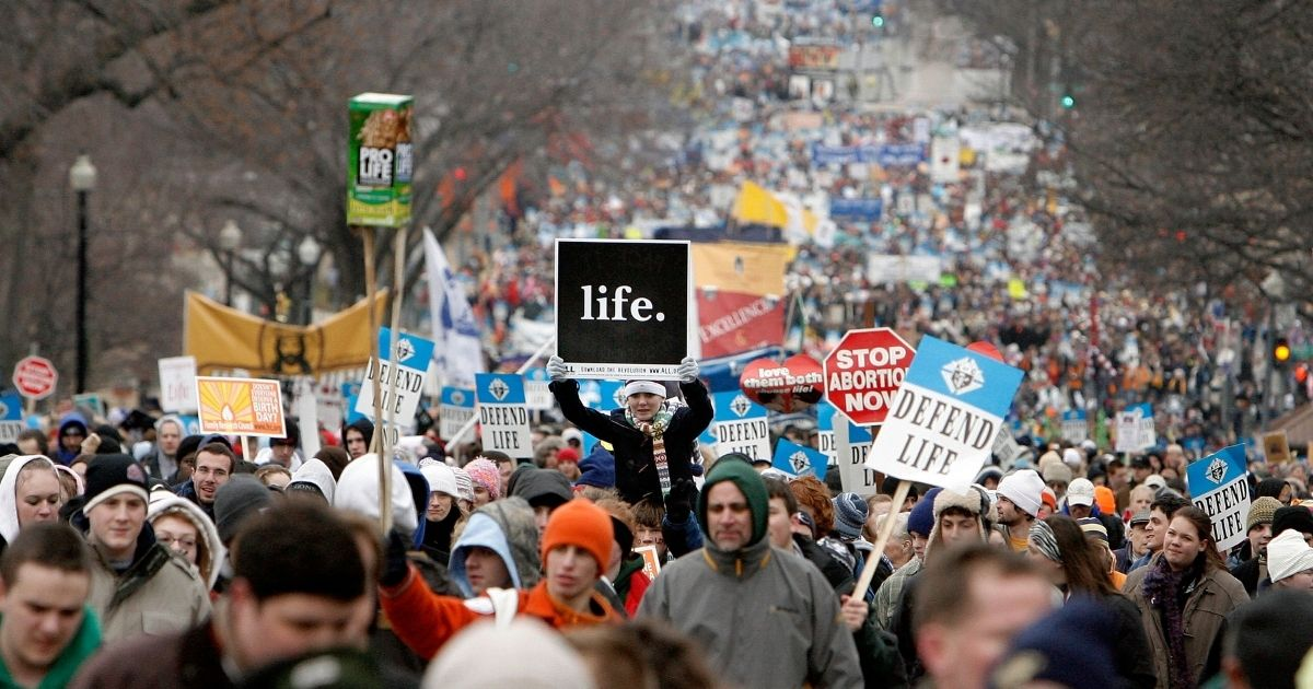 Thousands of pro-life demonstrators participate in the March for Life on Jan. 22, 2008, in Washington, D.C.
