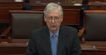 Senate Republican Leader Mitch McConnell addresses the Senate floor on Thursday.