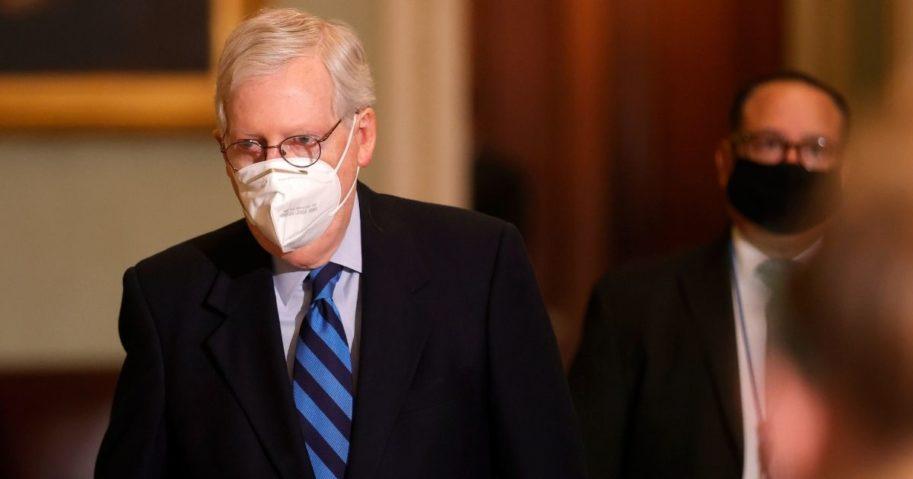 Senate Majority Leader Mitch McConnell leaves the Senate chamber on Jan. 19, 2021, in Washington, D.C.