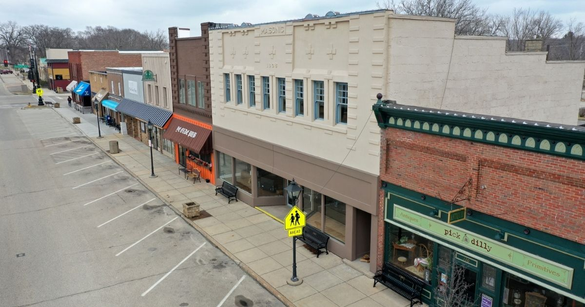 A normally busy Main Street is deserted as small businesses remain closed by lockdown orders on March 24, 2020, in Rockton, Illinois.