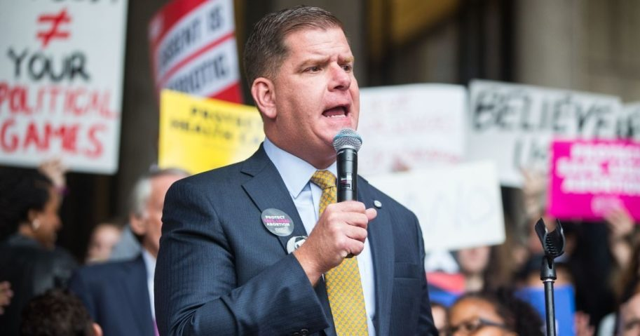 Boston Mayor Marty Walsh speaks at a rally on Oct. 1, 2018, in Boston.