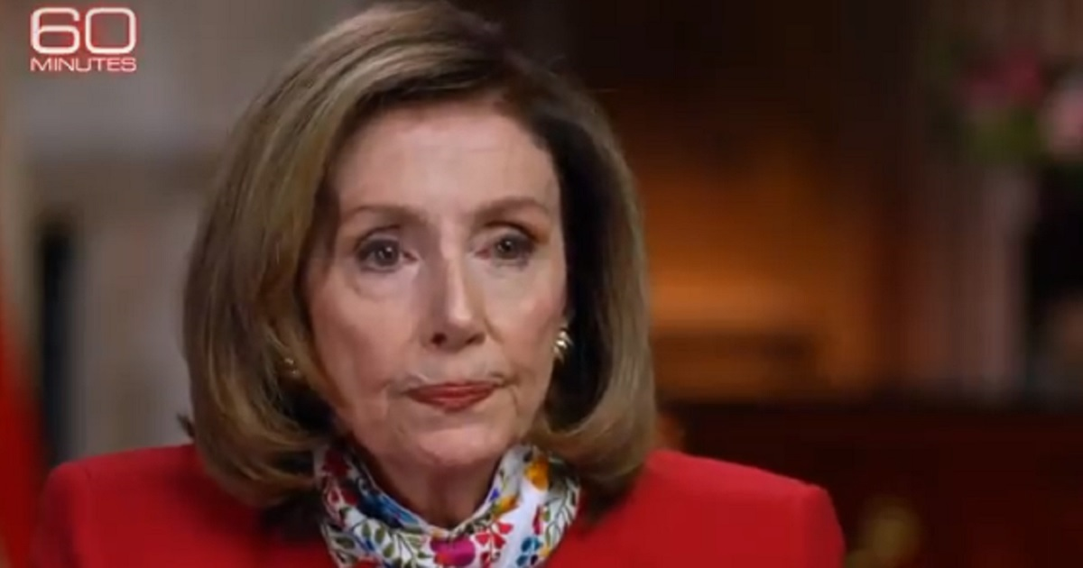 """House Speaker Nancy Pelosi purses her lips during a """"60 Minutes"""" interview that aired Sunday."""