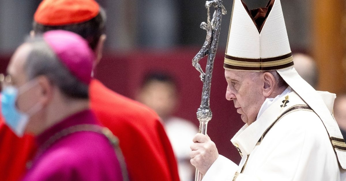 Pope Francis celebrates Epiphany in St. Peter's Basilica on Jan. 6, 2021, in Vatican City.