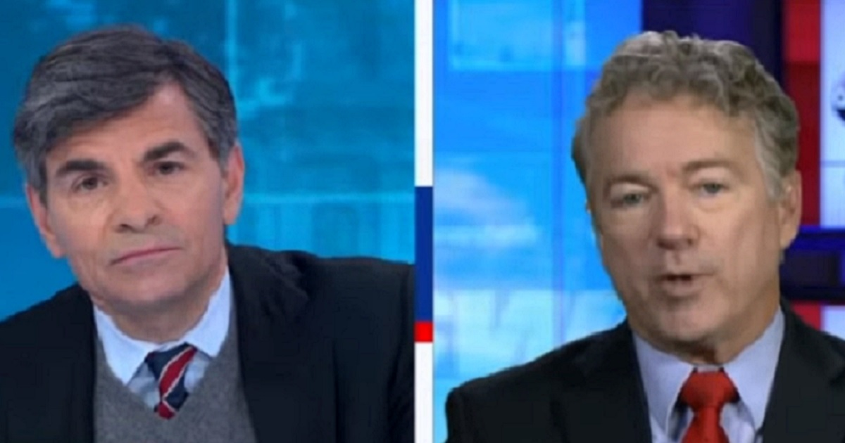 """ABC's George Stephanopoulos, left, interviews Kentucky Sen. Rand Paul on Sunday on ABC's """"This Week."""""""