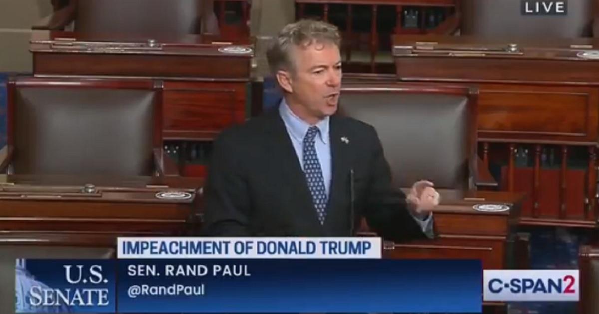 U.S. Sen. Rand Paul of Kentucky speaks on the Senate floor on Tuesday.