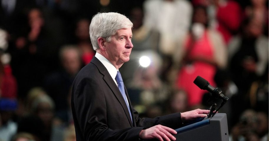 Former Michigan Gov. Rick Snyder speaks about the Flint water contamination crisis on May 4, 2016, in Flint, Michigan.