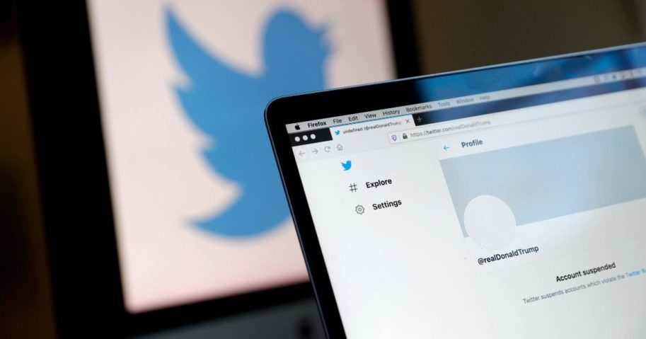 The suspended Twitter account of President Donald Trump appears on a laptop screen on Jan. 8, 2021, in San Anselmo, California.