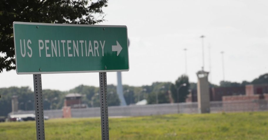 A sign points to the entrance of the Federal Correctional Complex Terre Haute on July 25, 2019, in Terre Haute, Indiana.
