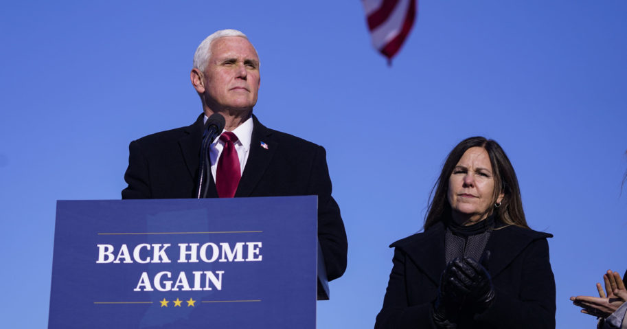 Former Vice President Mike Pence speaks after arriving in his hometown of Columbus, Indiana, on Jan. 20, 2021.