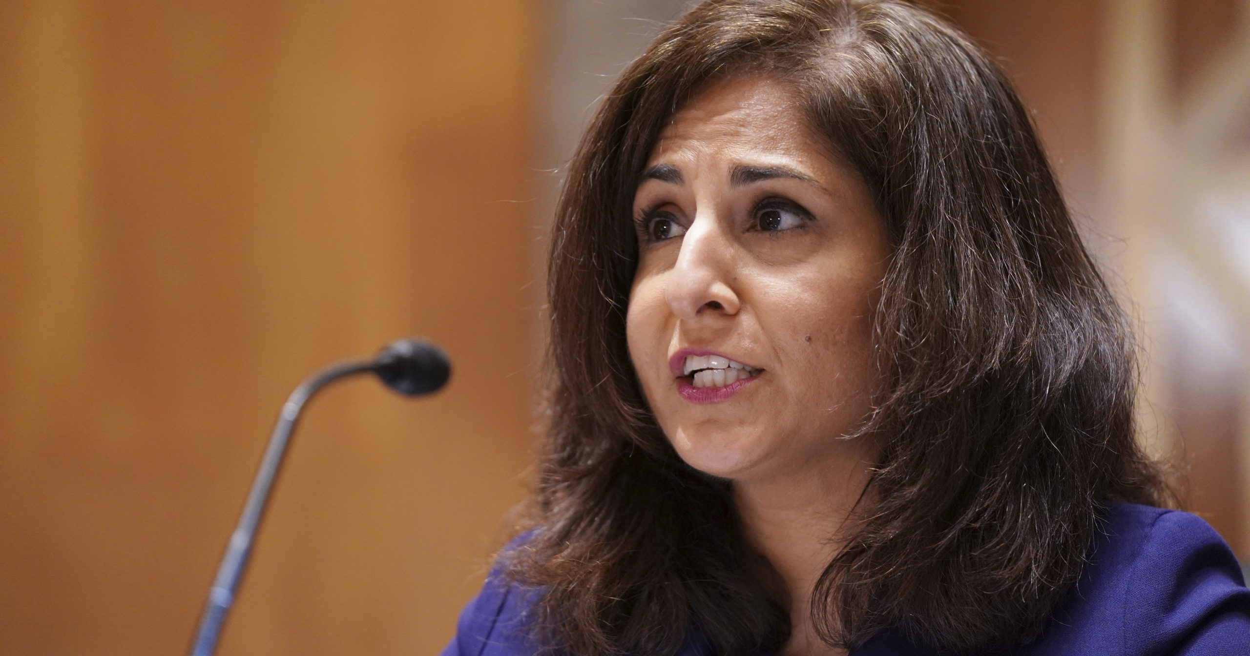 Neera Tanden testifies before the Senate Homeland Security and Government Affairs Committee on her nomination to become the director of the Office of Management and Budget during a hearing on Feb. 9, 2021, on Capitol Hill in Washington, D.C.
