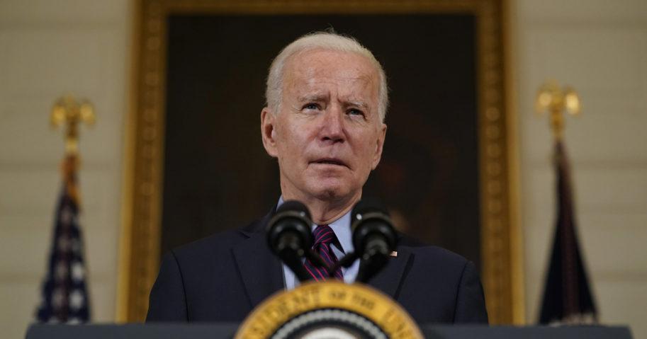 President Joe Biden speaks in the State Dinning Room of the White House on Feb. 5, 2021, in Washington, D.C.