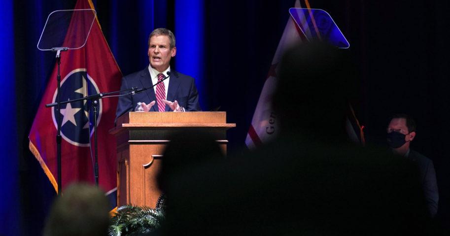 Tennessee Gov. Bill Lee speaks in the War Memorial Auditorium on Feb. 8, 2021, in Nashville, Tennessee.