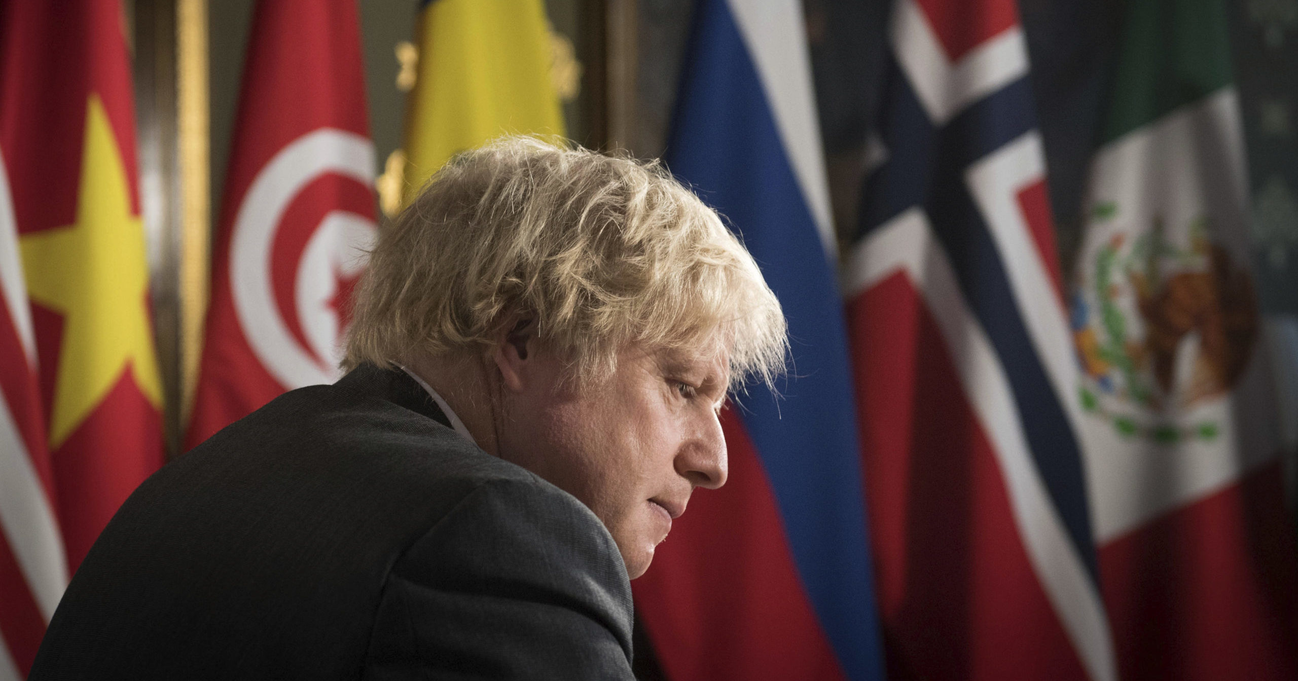 British Prime Minister Boris Johnson chairs a session of the UN Security Council at the Foreign, Commonwealth and Development Office in London on Feb. 23, 2021.