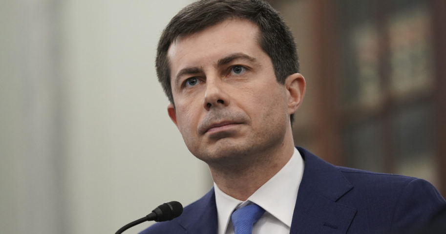 Pete Buttigieg speaks during a Senate Commerce, Science and Transportation Committee confirmation hearing on Capitol Hill in Washington, D.C., on Jan. 21, 2021.