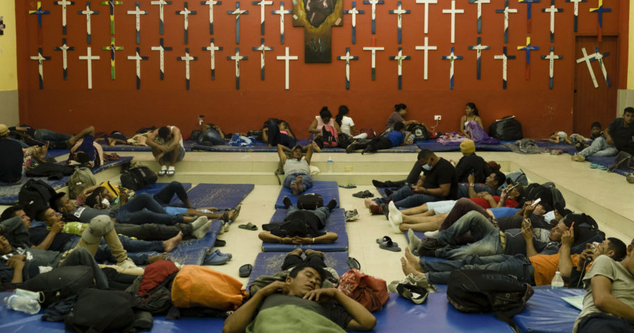 Central American migrants rest at a shelter in Tenosique, Tabasco state, Mexico, on Feb. 9, 2021.