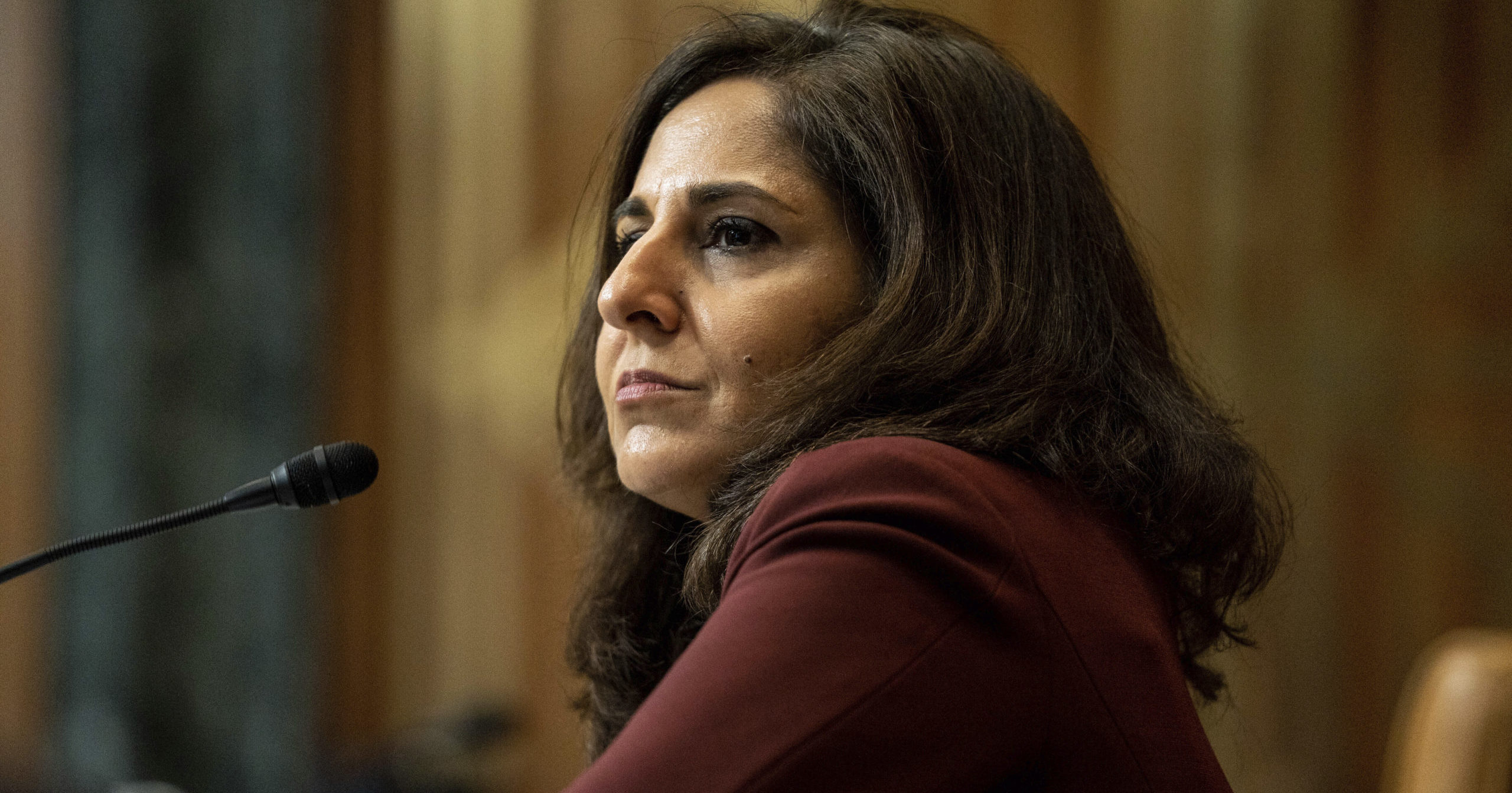 Neera Tanden, President Joe Biden's nominee for director of the Office of Management and Budget, appears before a Senate Budget Committee hearing on Capitol Hill in Washington, D.C, on Feb. 10, 2021.
