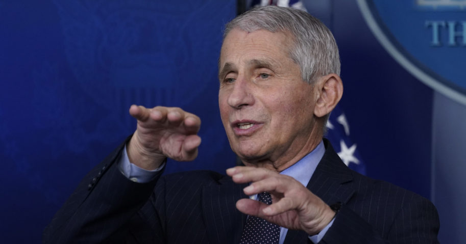Dr. Anthony Fauci, director of the National Institute of Allergy and Infectious Diseases, speaks with reporters at the White House in Washington on Jan. 21.