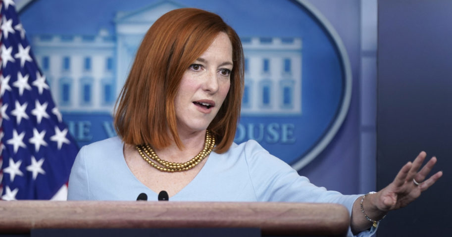 White House press secretary Jen Psaki speaks during a news briefing at the White House on Feb. 10, 2021, in Washington, D.C.