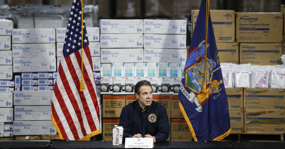 Gov. Andrew Cuomo speaks during a news conference at the Jacob Javits Center in New York on March 24, 2020.
