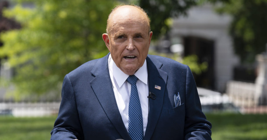 Rudy Giuliani talks with reporters outside the White House on July 1, 2020, in Washington, D.C.