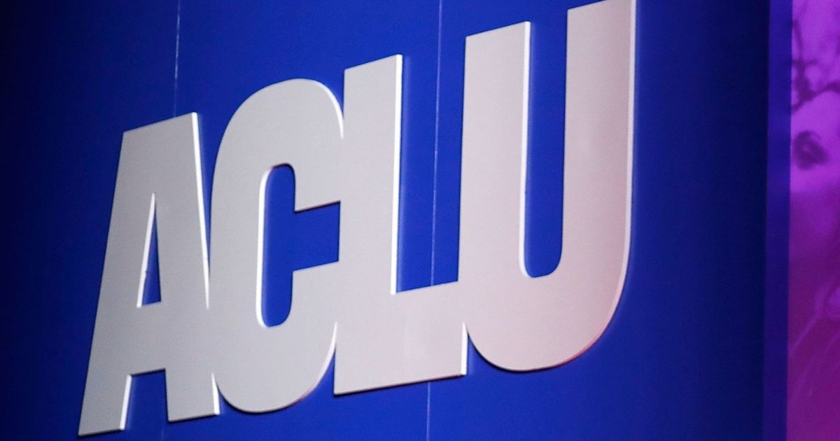 The American Civil Liberties Union logo is seen above at the 2018 ACLU National Conference at the Washington Convention Center on June 12, 2018, in Washington, D.C.