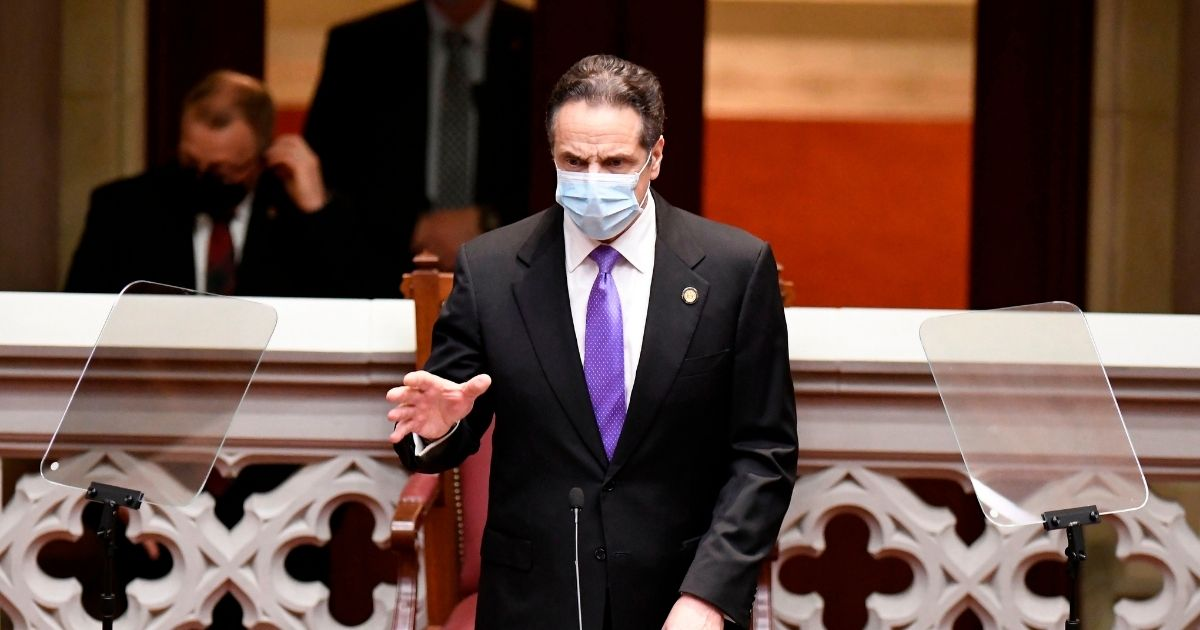 New York Governor Andrew Cuomo speaks to members of New York state's Electoral College before voting for President and Vice President in the Assembly Chamber at the state Capitol in Albany, New York on Dec. 14, 2020.