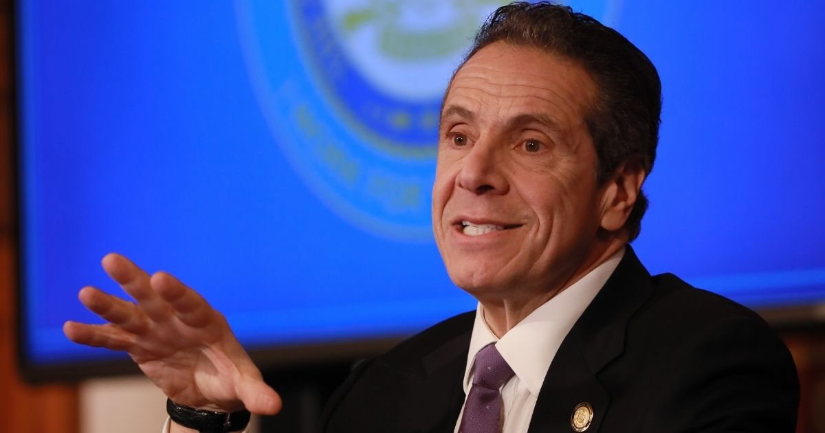 New York Gov. Andrew Cuomo speaks during a news briefing about the coronavirus on April 17 in Albany.